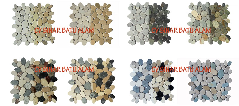 MOSAIC SLICED PEBBLE ON NETTING WALL TILE