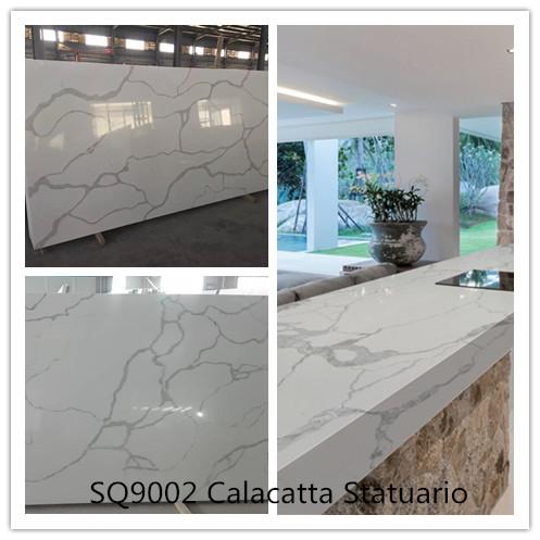 SQ9002 Calacatta White Quartz Quartz Stone Tops Artificial Stone Slabs Calacatta Quartz Stone