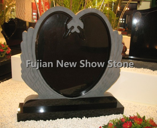 Black Granite Tombstone Round