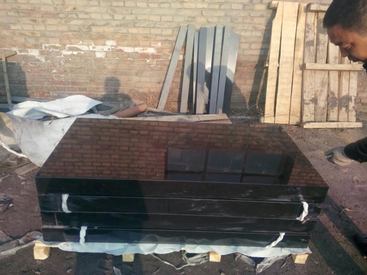 Shanxi black granite 6 sides polished rectangular monuments