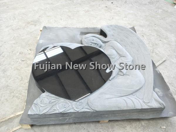 Shanxi black granite heart shape monument