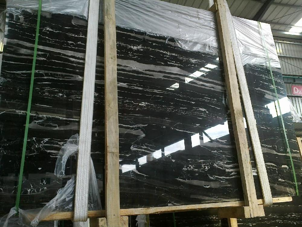 Silver Portoro Chinese Black Marble Slabs