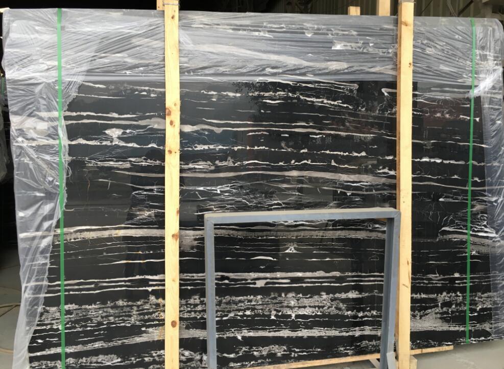 Silver Portoro Black Marble Slabs