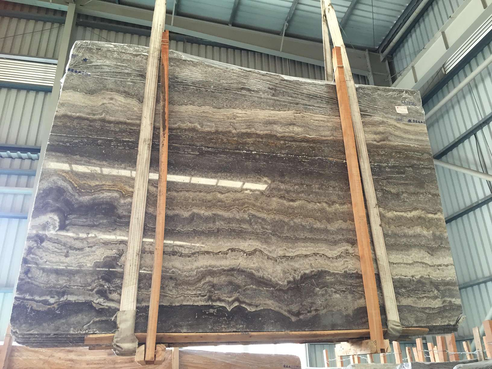 grey silver travertine slab