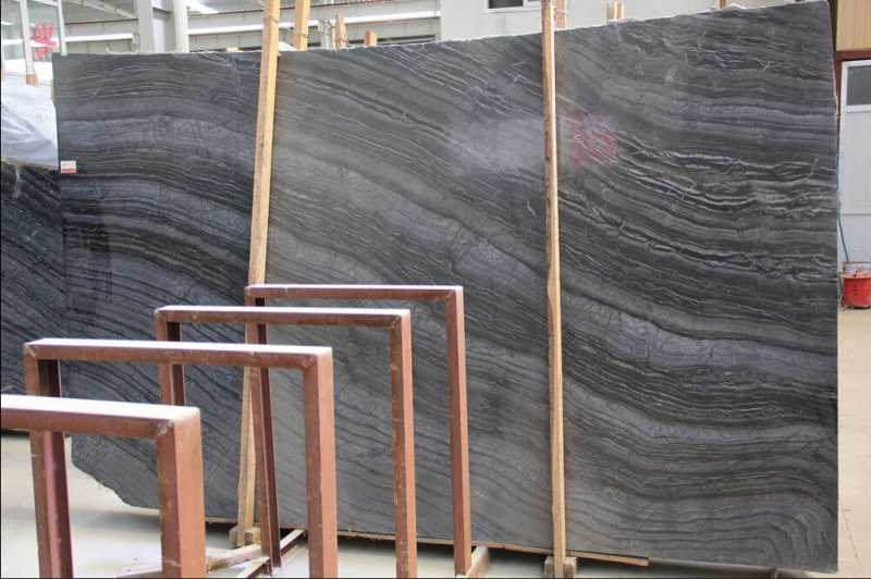 Antique Wooden Fossil Black Marble Slabs