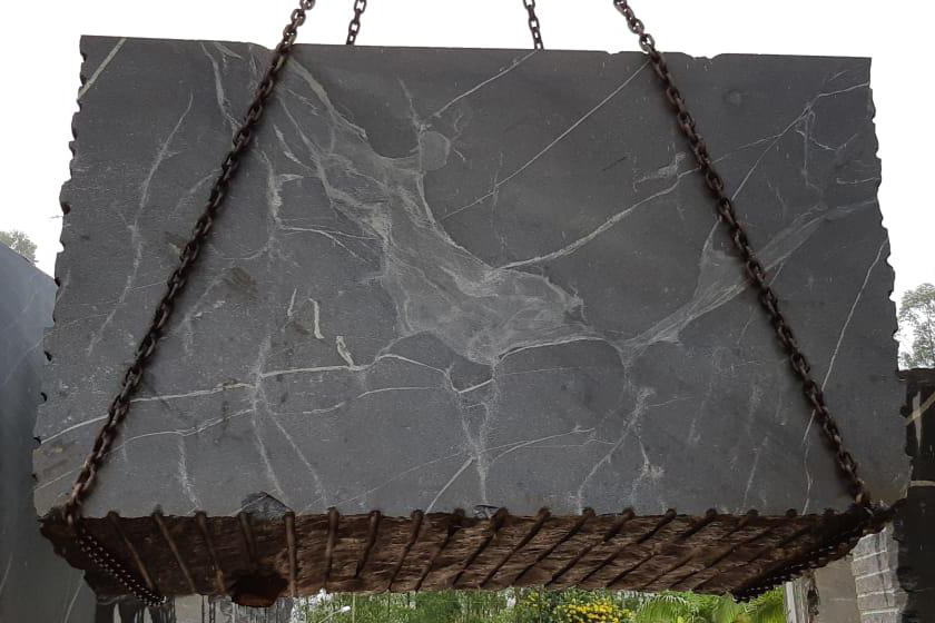 Silver grey granite blocks