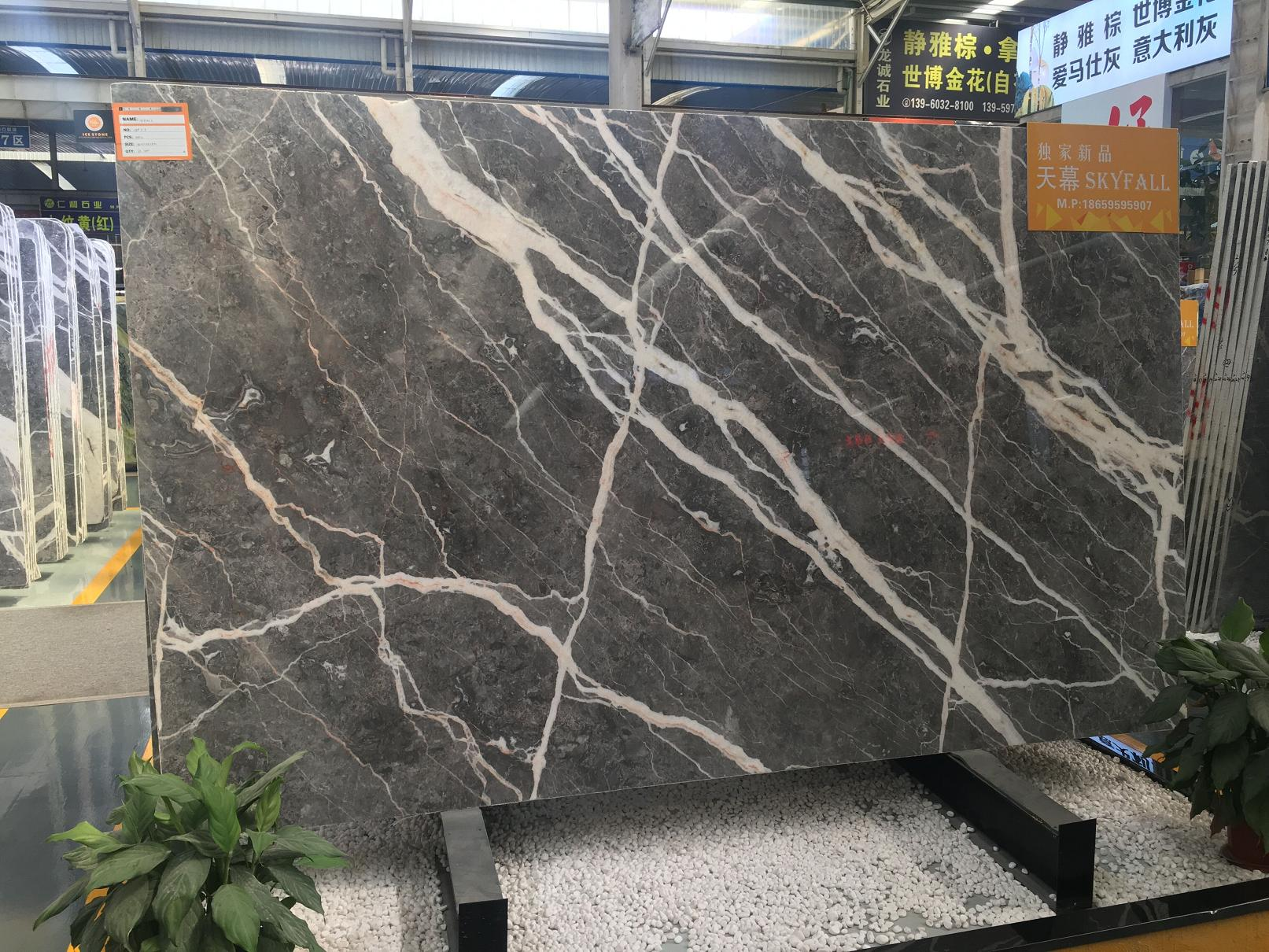 Sky Fall Grey Marble Tile & Slab  Grey With White Veins Marble Slab