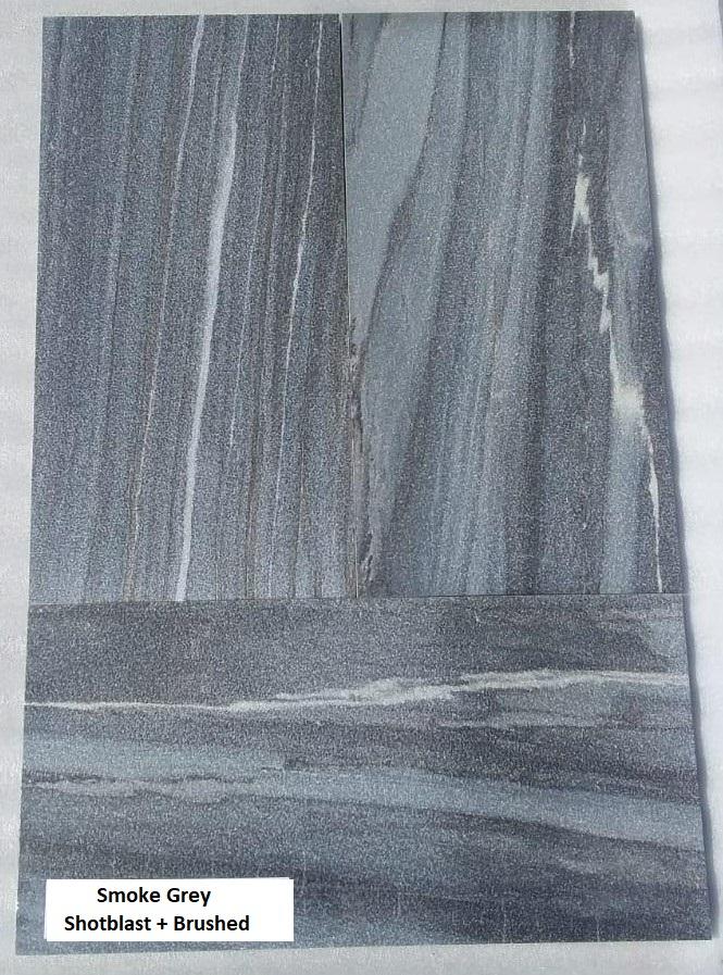 Smoke Grey Short blasted Quartzite Tiles