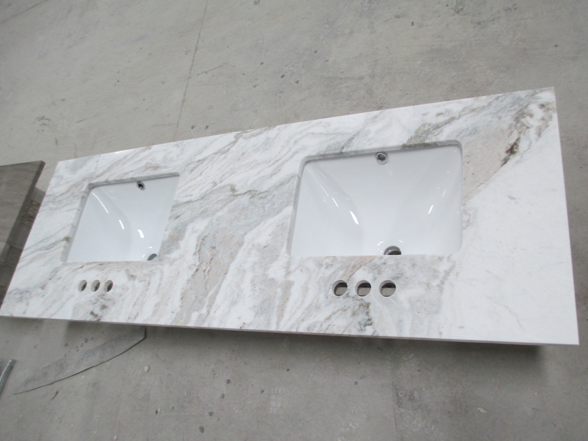 Snow White Marble Bathroom Vanity Tops