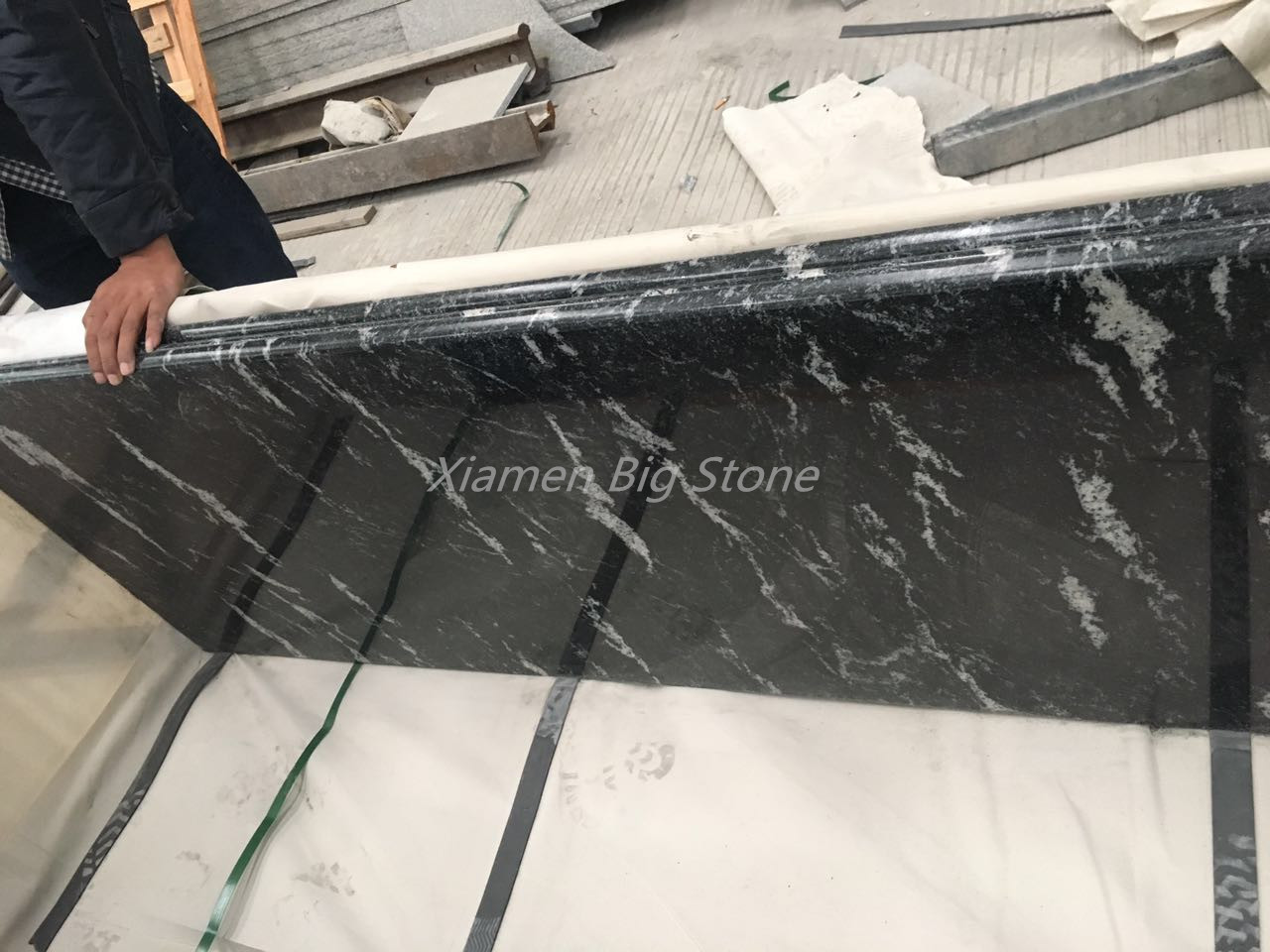 Snow Grey Granite Countertop With Black Color