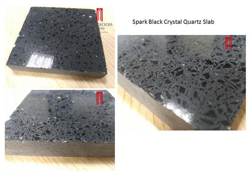 Factory Supply wholesale spark black quartz slab