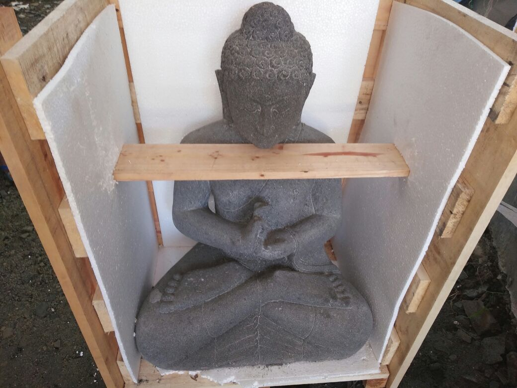 Black Lavastone Buddha Head Statues