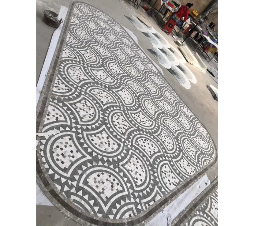 Mosaic White Marble Water-Jet Floor Grey Marble Mosaic