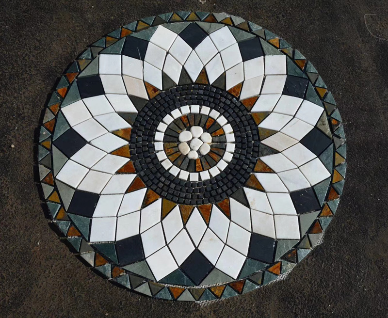Round design stepping slate stone floor mosaic patterns