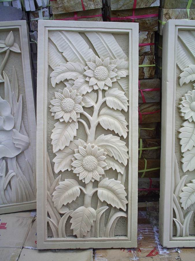 Bali White Limestone Sun Flower Stone Carvings
