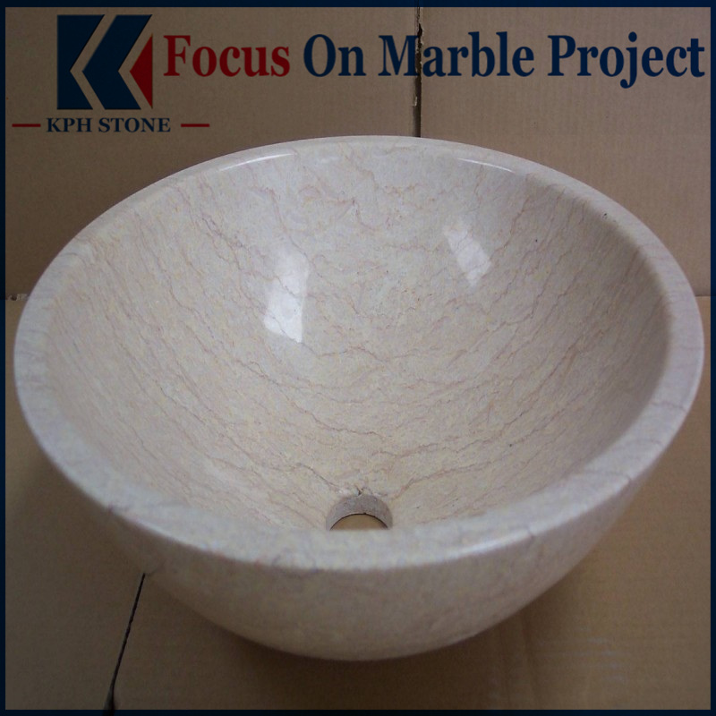 Sunny Gold Marble Round Basin Sinks