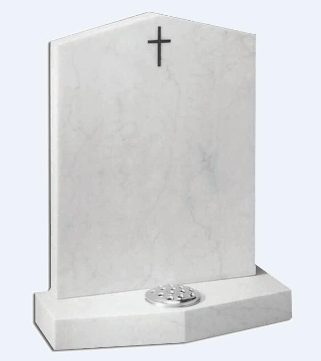 White marble headstone with cross