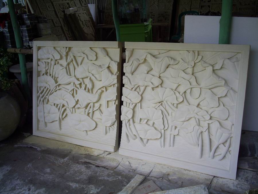 Bali White Limestone Teratai Flower Stone Carvings