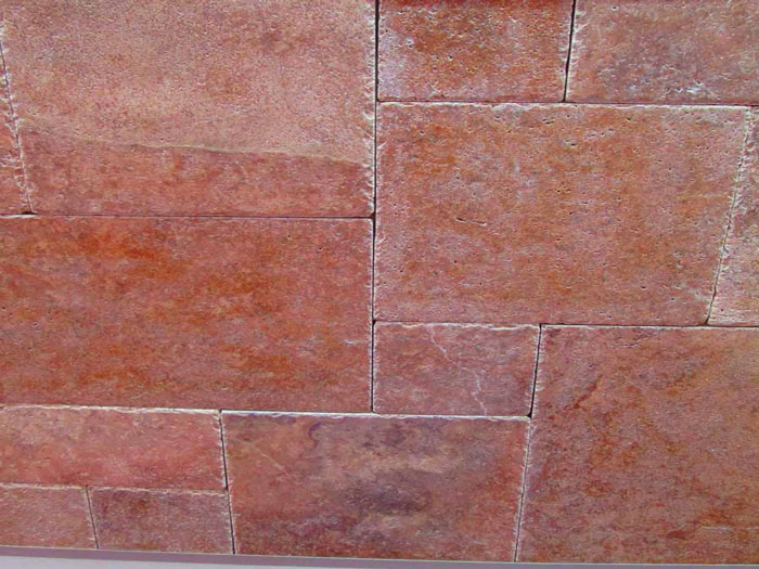 Persian Red Travertine Tumbled Brushed Mosaic