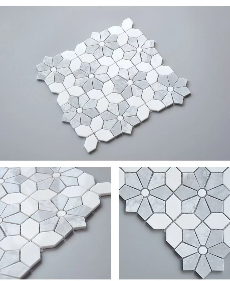 Thassos white  Carrara white waterjet mosaic