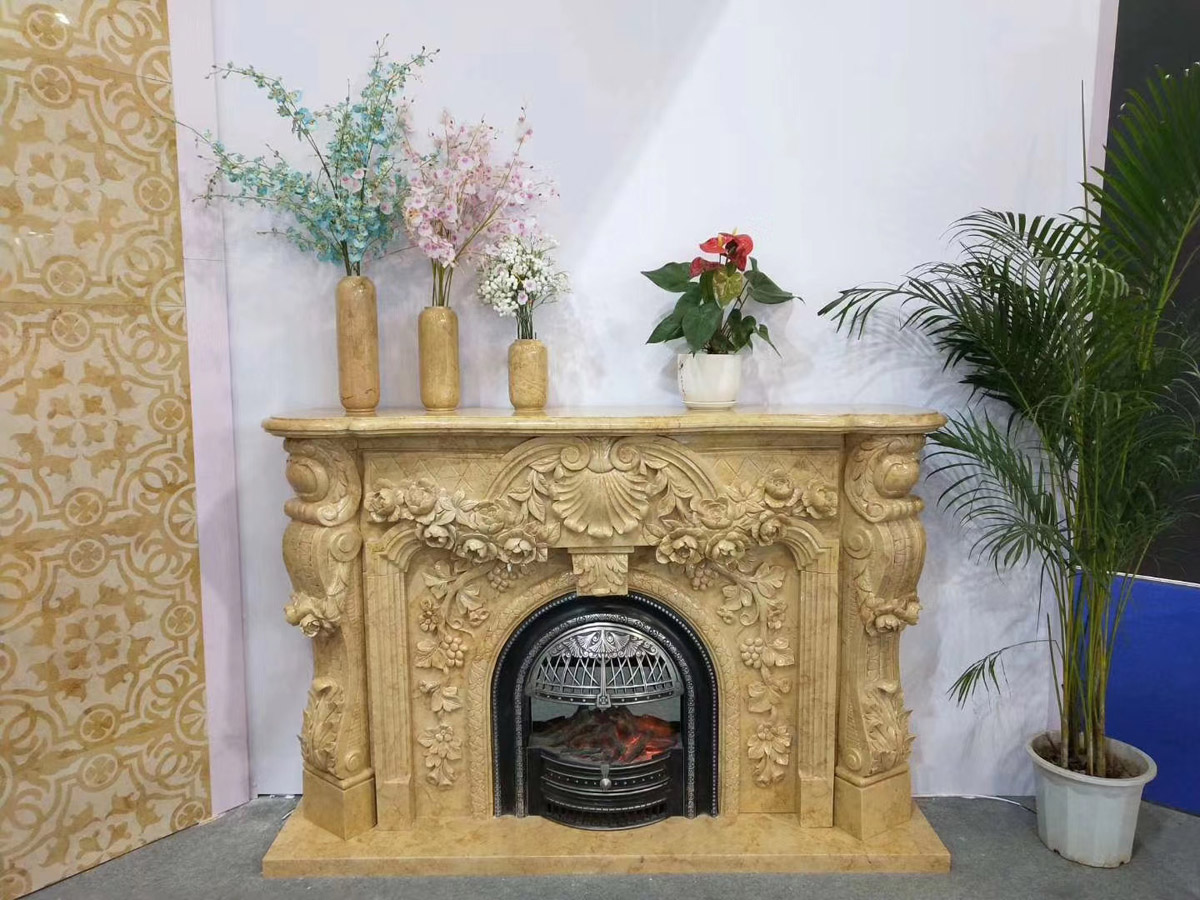 Top Quality Beige Rose Marble Fireplaces