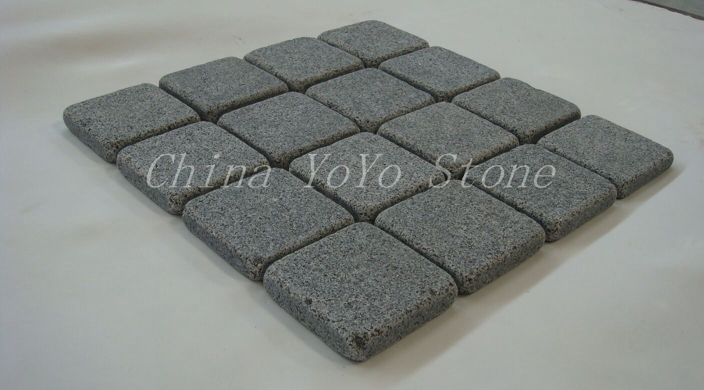 Grey Tumbled Granite Paving Stone  Cube Stone