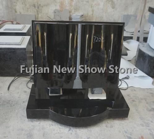 Black Polished Granite Tombstone