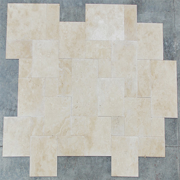 Light Travertine French Pattern Set Tumbled