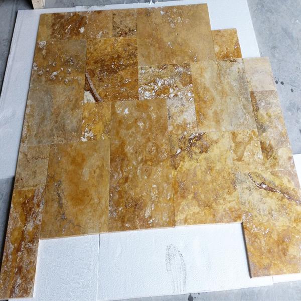 Gold Yellow Travertine Tile French Pattern Set Paver