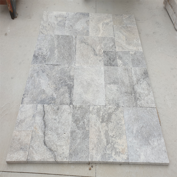 Silver Travertine Pattern Set Paver