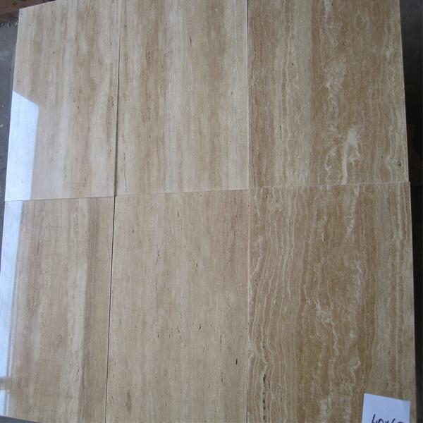 Transparent Resin Fillled Travertine Vein Cut Tiles