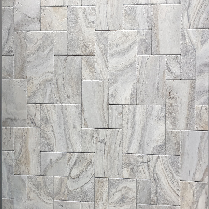 Silver French Pattern Travertine Fantasy Brushed