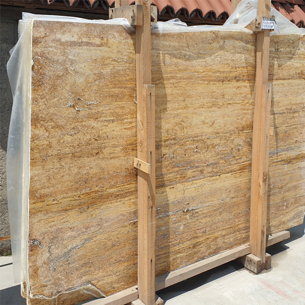 Turkey Gold Yellow Travertine Vein Cut slab