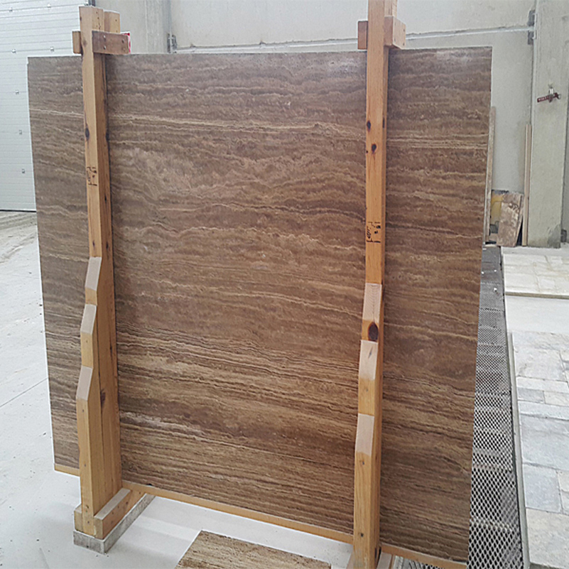 Brown Travertine Slab Vein Cut
