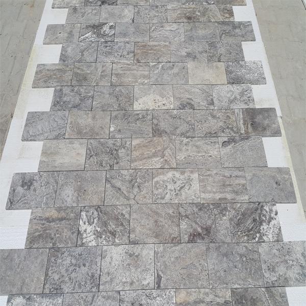 Turkish Silver Travertine Filled&Honed Tiles
