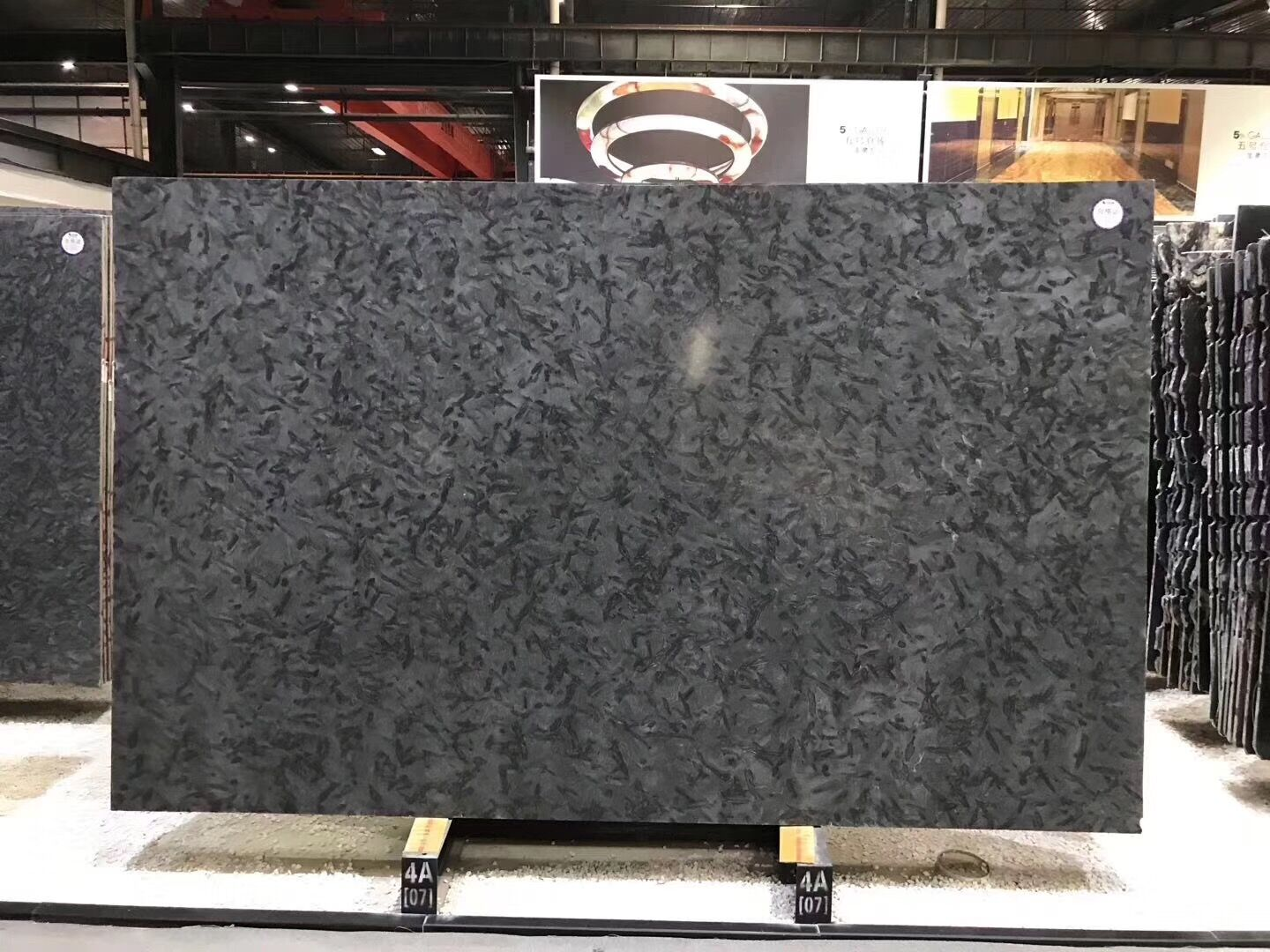 Versace Black Granite Brazil Black Polished Slab & Tile for Walling & Flooring