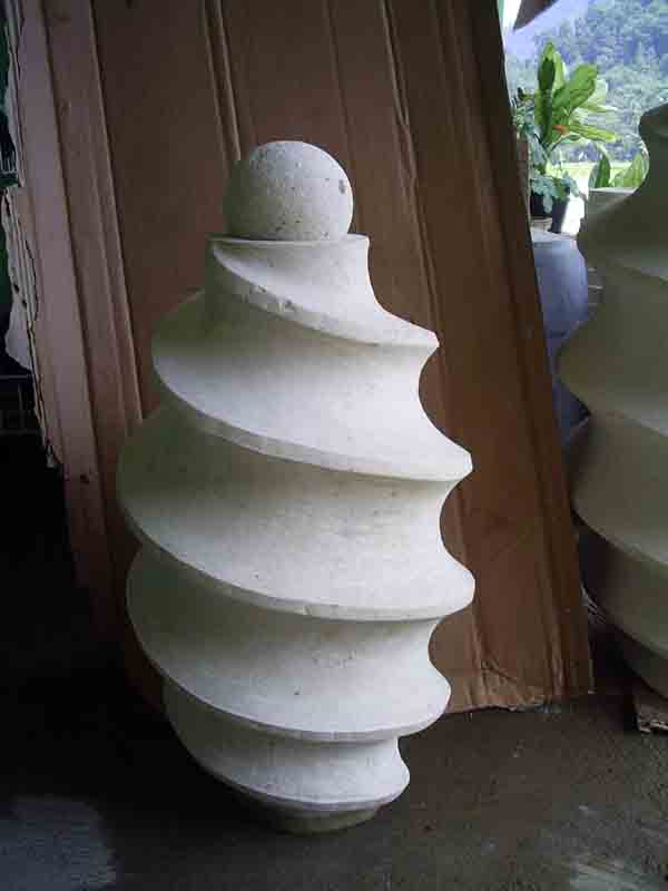 Bali White Sandstone Spiral Water Feature Carving Stone