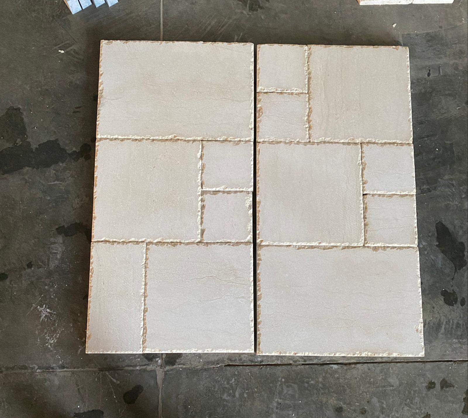 Chiseled Edge Tumbled Limestone French Pattern