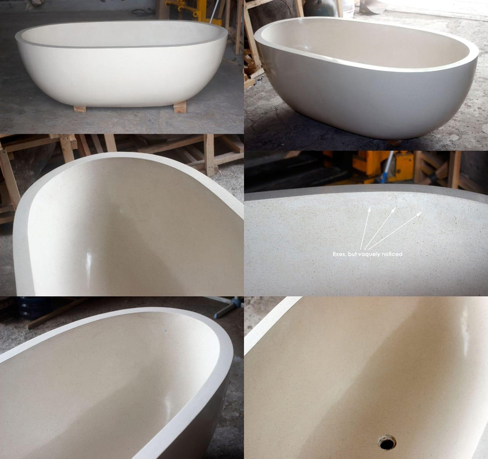 Indonesia White Terrazzo Resin Bathtub