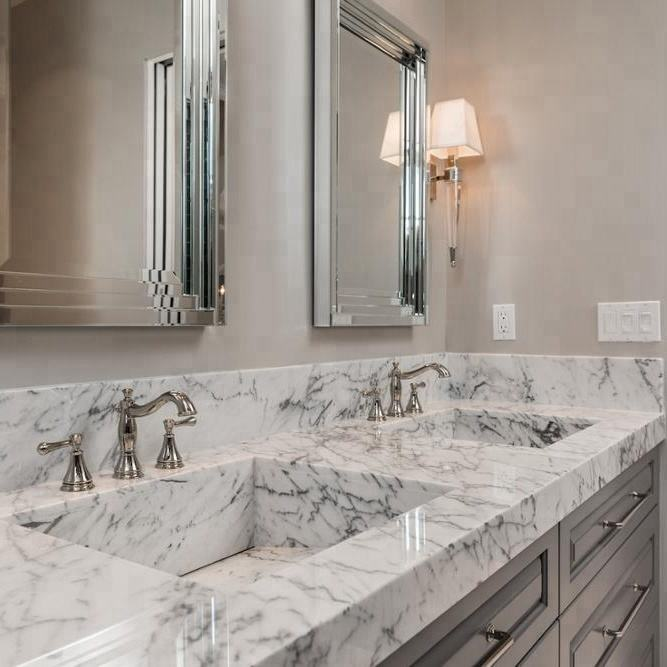 Customized Carrara White Marble Vanitytop