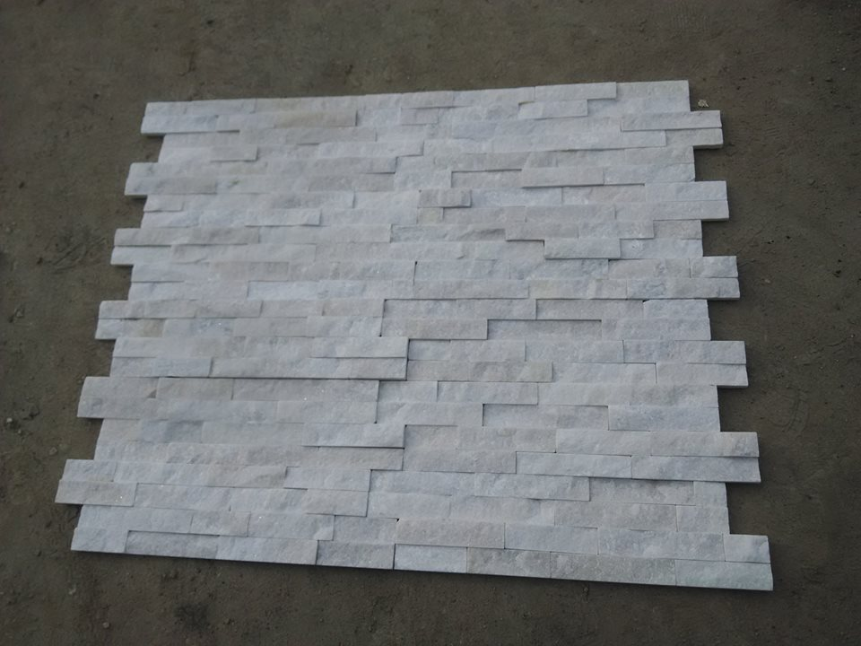 white quartzite culture stone wall panel