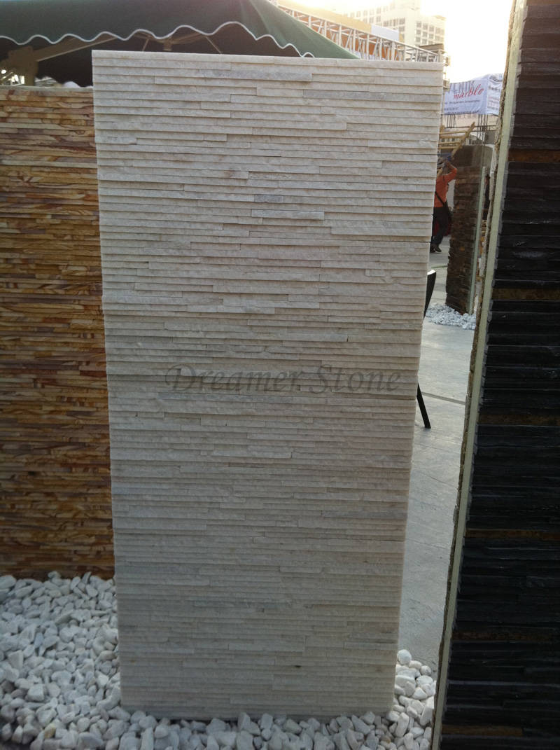 White thin quartzite stone veneer for wall