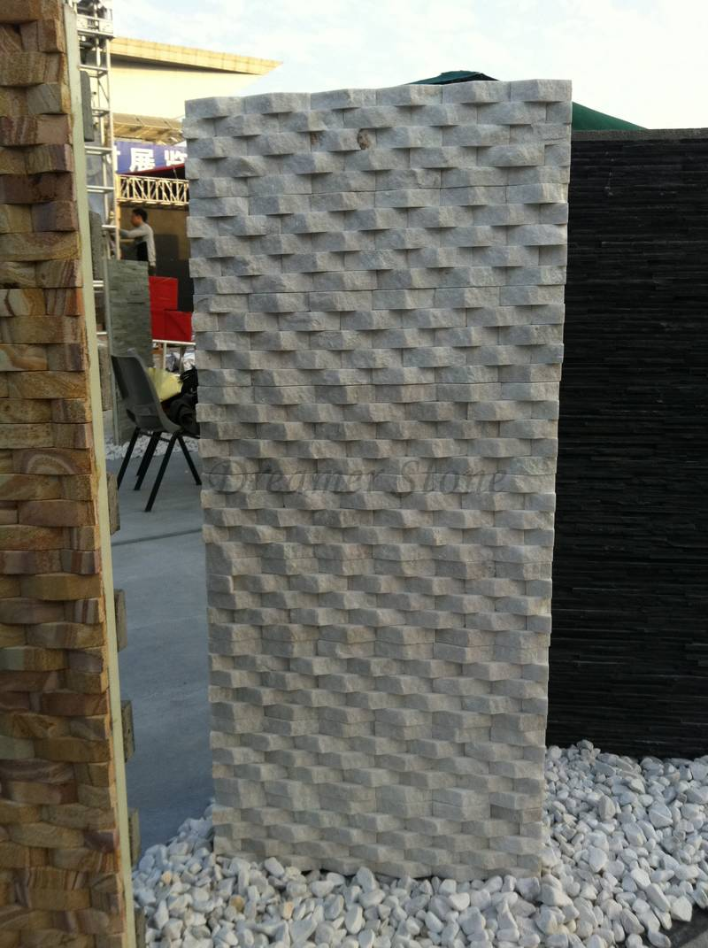 White exterior quartz weave stacked stone veneer