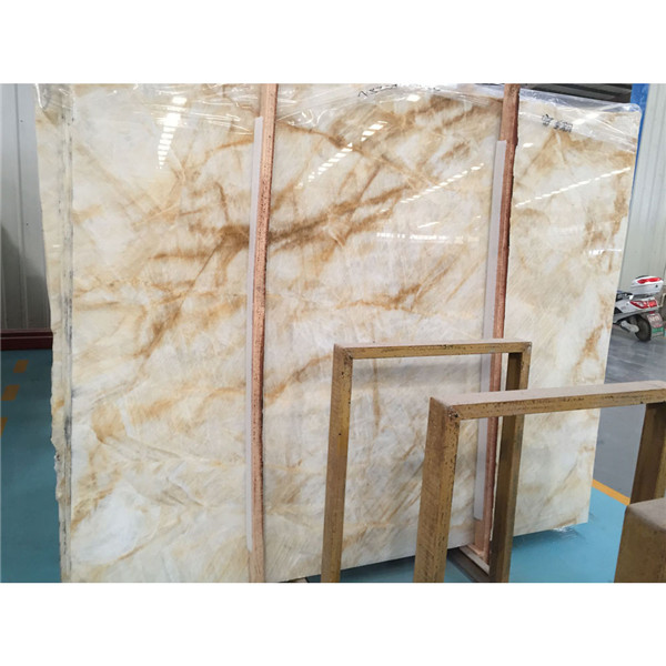 White Onyx With Gold Veins Marble Slabs