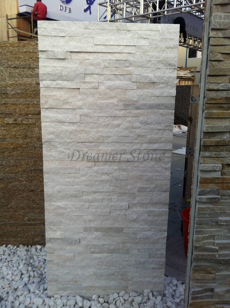 White colour quartzite ledgestone stone wall cladding