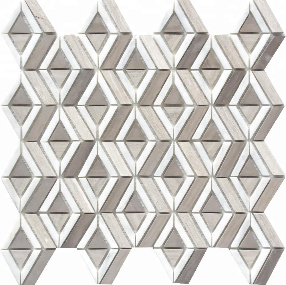 White wood  Ahen grey  Crystal white diamond basketweave mosaic