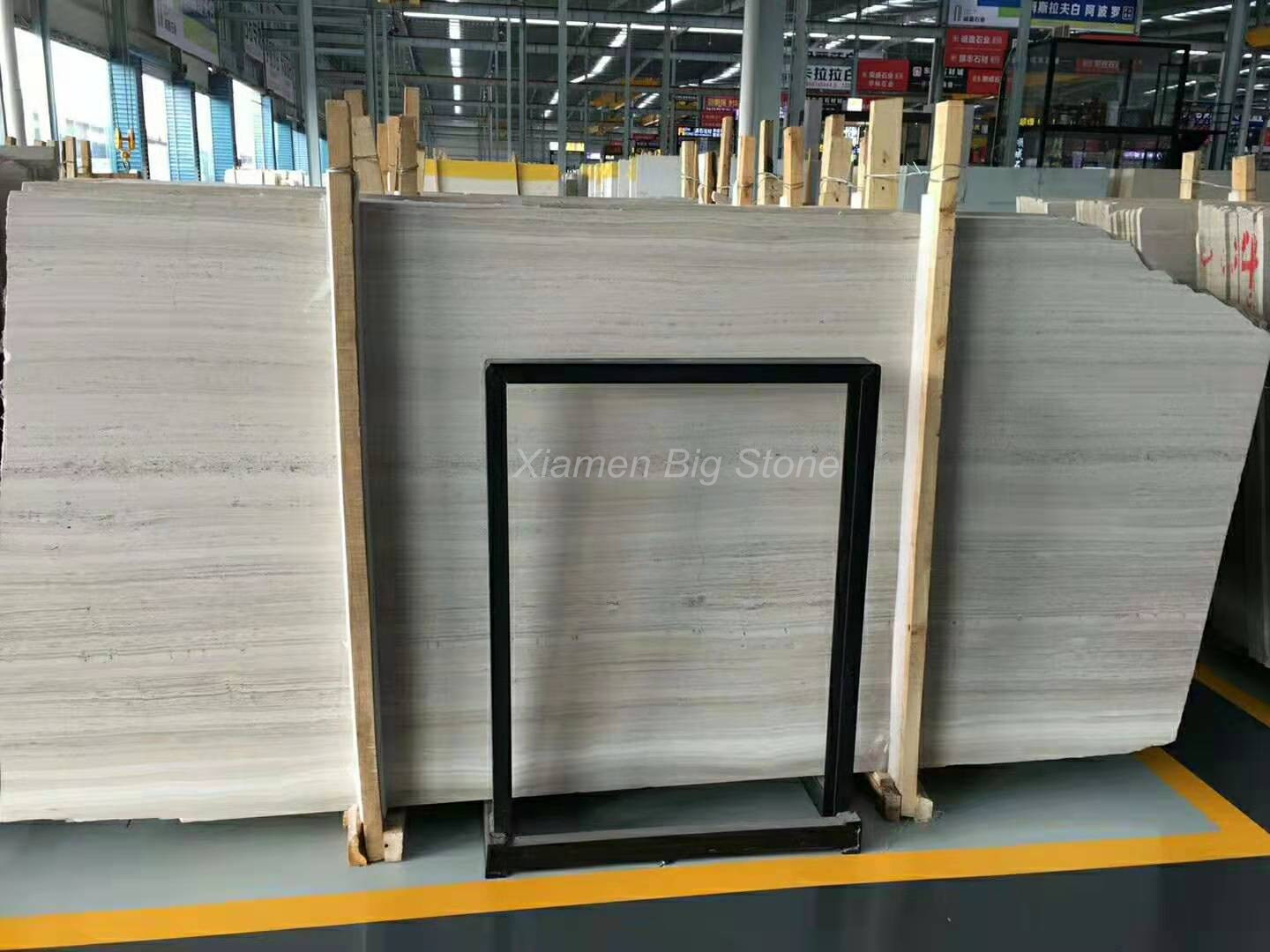 Chinese Wooden White Marble Slab