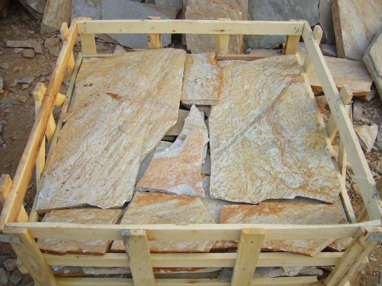 Wooden Yellow Slate Flagstone
