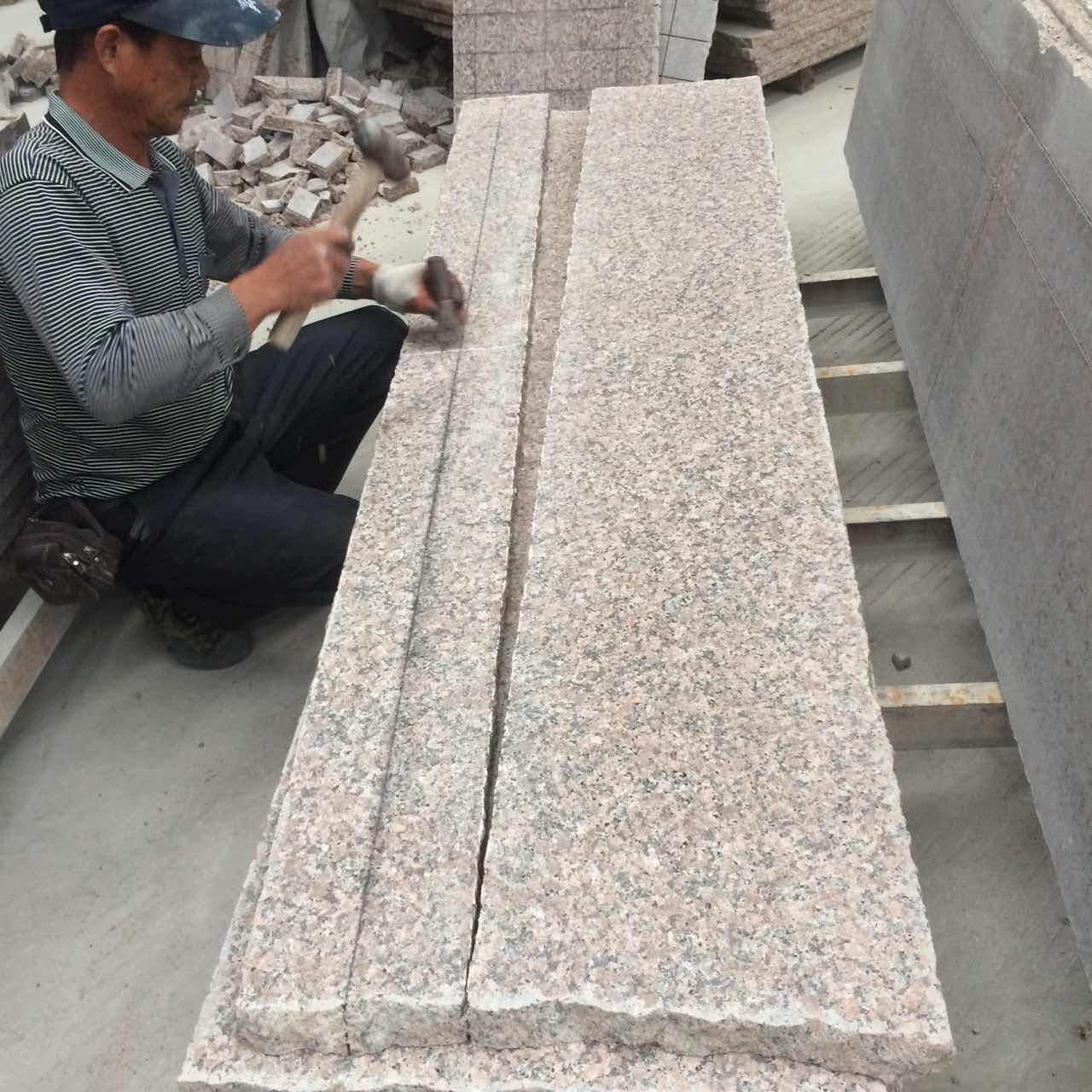 pink granite paving stone