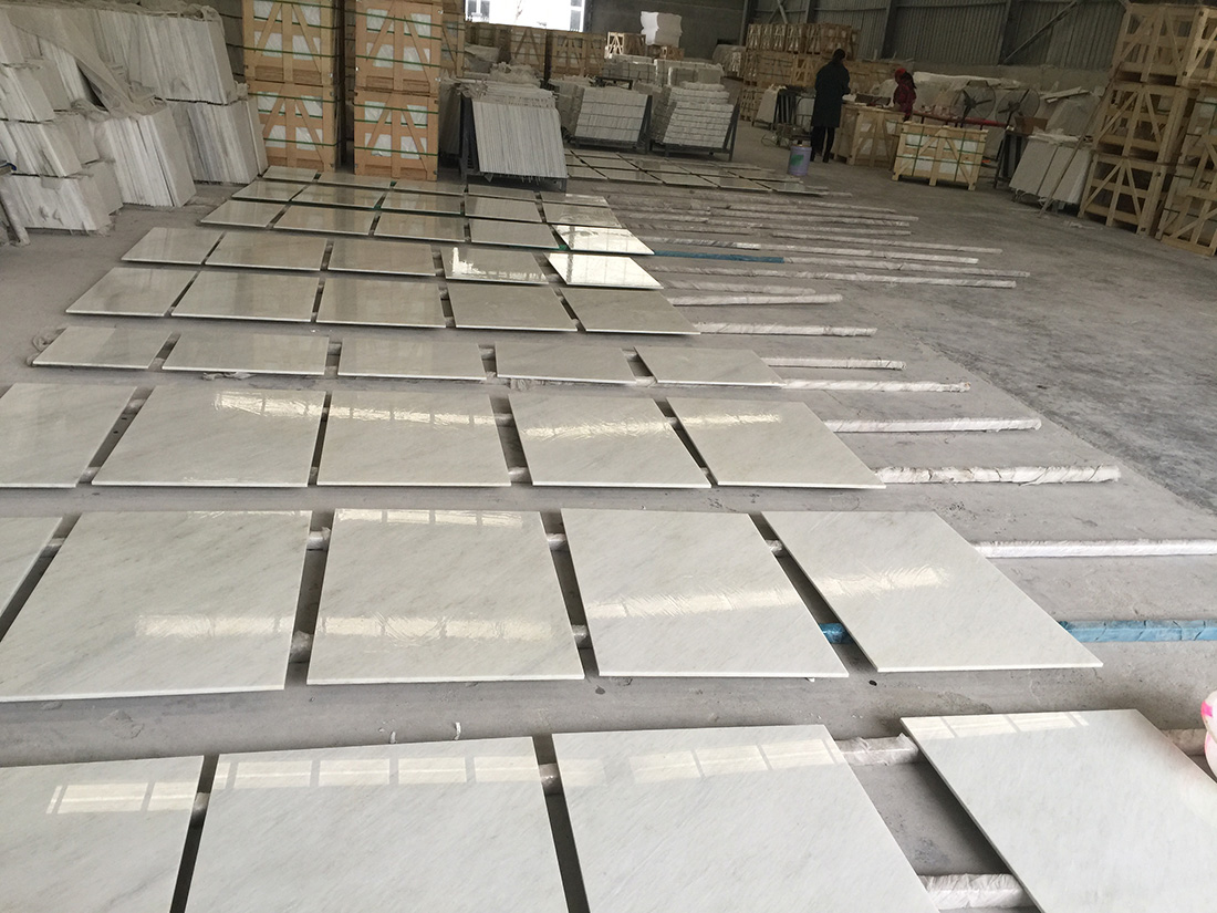 white marble project tiles for floor and wall